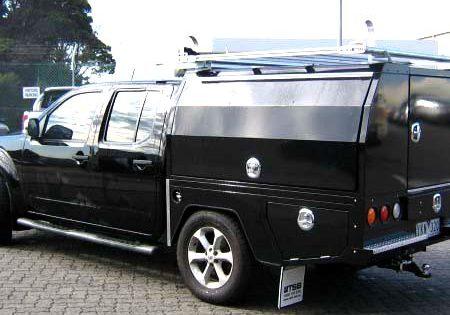black telecommunication trades service vehicle