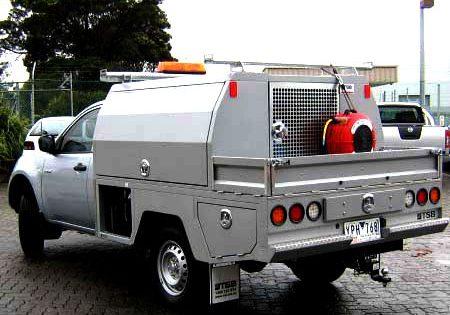 grey plumbers truck service body